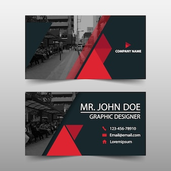 Modern red business card template design