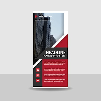 Modern red commercial roll up banner