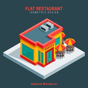 Modern restaurant with isometric perspective