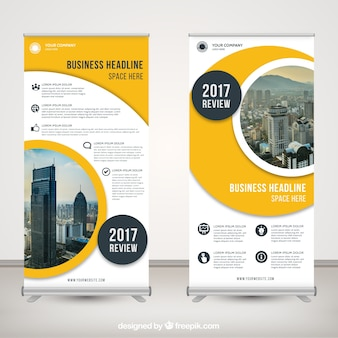 Modern roll up business with abstract shapes