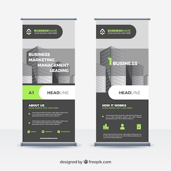 Modern roll up template with flat design