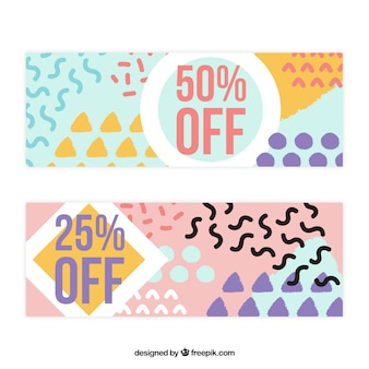 Modern sale banners with abstract shapes