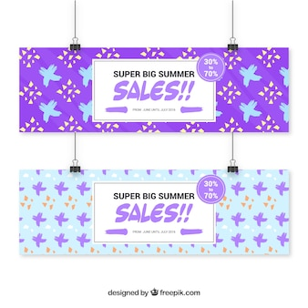 Modern sale banners with shapes