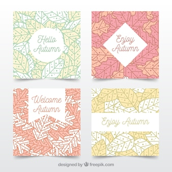 Modern set of abstract autumn cards