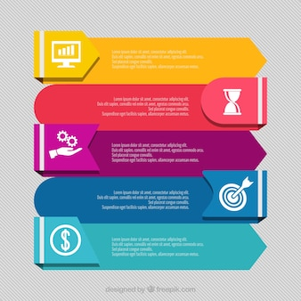 Modern set of colored infographic banners