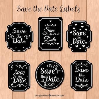 Modern set of elegant wedding labels