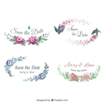 Modern set of watercolor floral labels