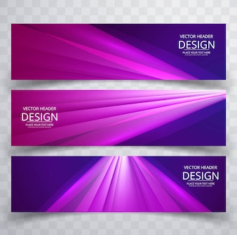 Modern shiny purple banners