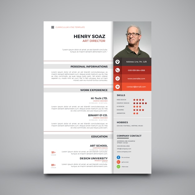 Cv Template Vectors, Photos and PSD files | Free Download