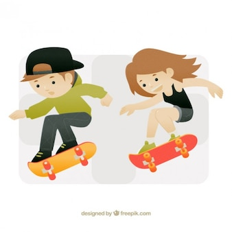 Modern skater teenagers