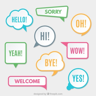 Modern speech bubbles with colored borders