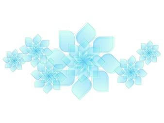 様々な青い幾何学的な花で作られたコンポジションを持つ現代的なスタイルの抽象化。