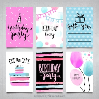 Modern style birthday cards collection