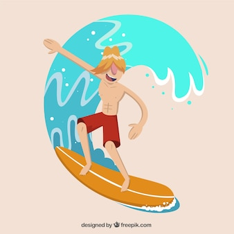 Modern surfer with a wave