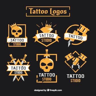 Modern tattoo logo collection