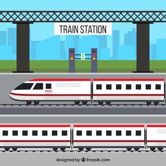 Modern train station in flat design
