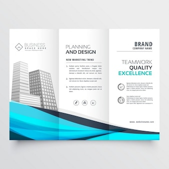 Modern trifold brochure with blue wave
