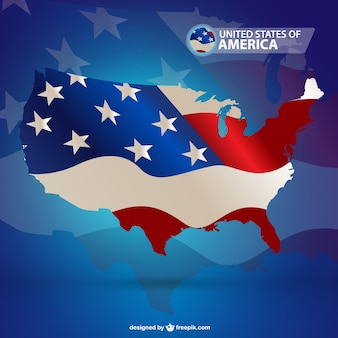 Modern USA map with flag