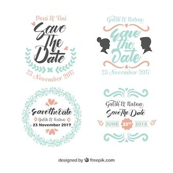 Modern variety of wedding labels