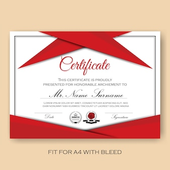 Modern Verified Certificate Background Template with Red Color Scheme