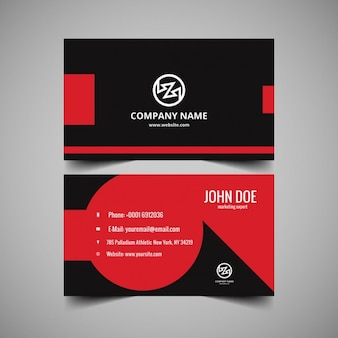 Modern visiting card in grey and red colors