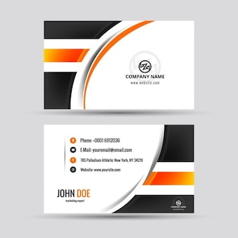 Modern visiting card with orange details
