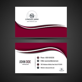 Modern visiting card with red waves