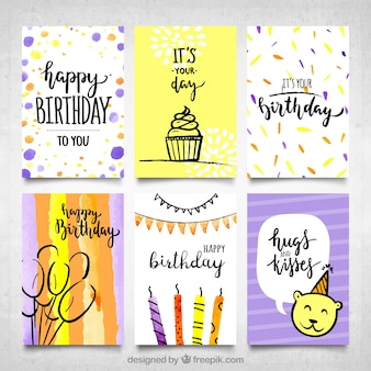 Modern water color birthday cards collection