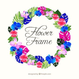 Modern watercolor floral frame