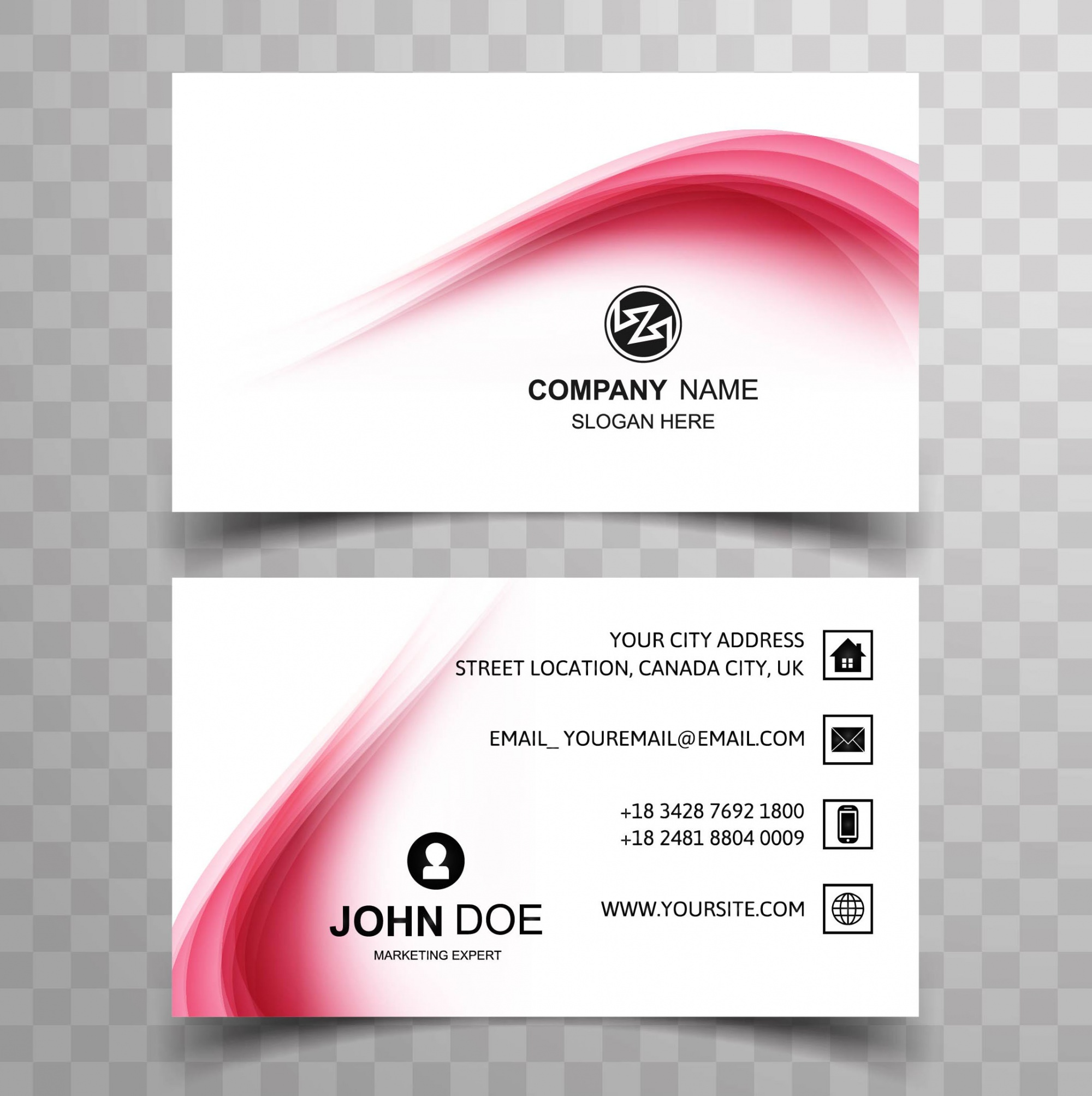 Modern wavy business card