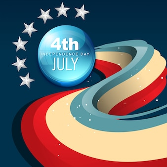 Modern wavy independence day design