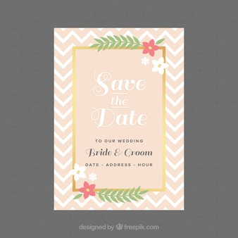 Modern wedding card with floral style