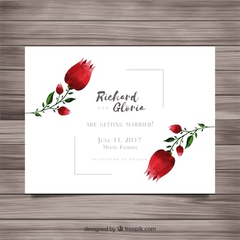 Modern wedding card with watercolor roses