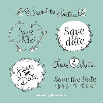 Modern wedding labels with leaves