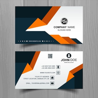 Modern white business card with orange and black shapes