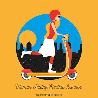 Modern woman with urban scooter