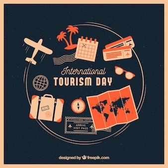 Modern world tourism day composition