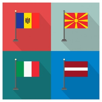 Moldavia Macedonia Italy and Latvia Flags