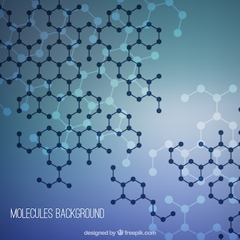 Molecules background with geometric shapes