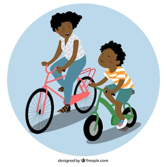 Mom and son riding a bike