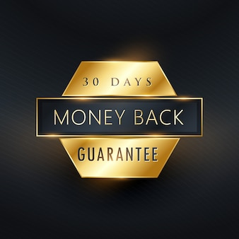 Money back guarantee golden label badge