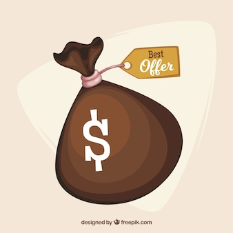 Money bag with offer tag