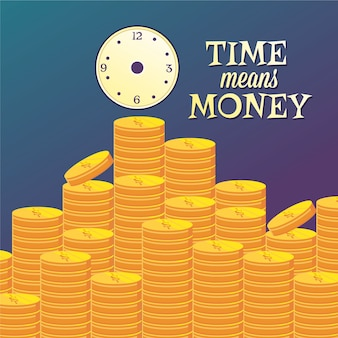 Money illustration with coins and clock