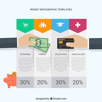 Money infographic template with color elements