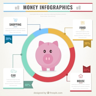 Money infographic with piggy bank and round chart