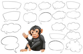 Monkey and different types of bubble speeches illustration