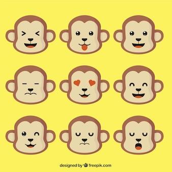 Monkey emoticons in flat design