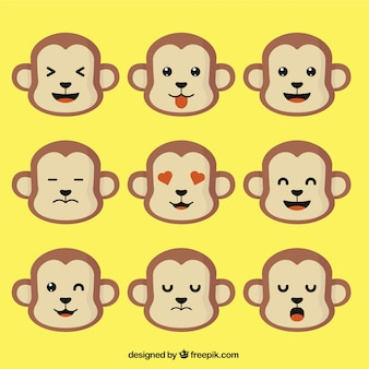 Monkey emoticons in flat design