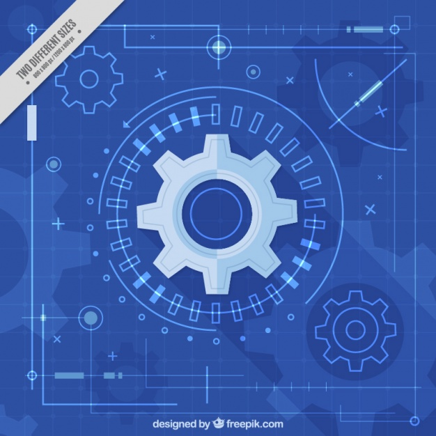 Monochromatic background with gears and lines