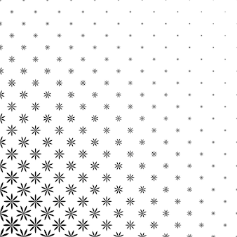 Monochromatic geometric stylized flower pattern - abstract floral vector background graphic design